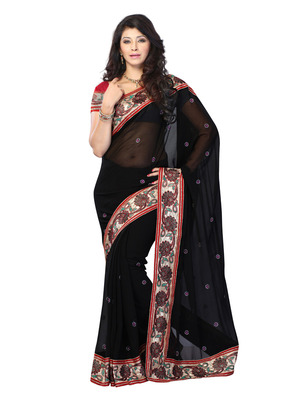 Black Color Georgette Bollywood Party Wear Designer Saree