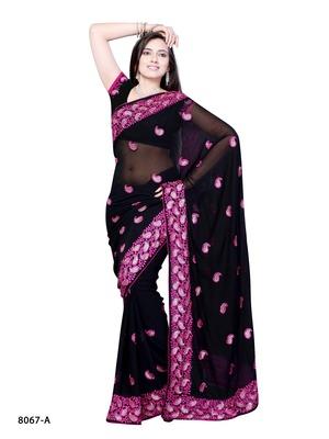 Black Color Georgette Designer Saree
