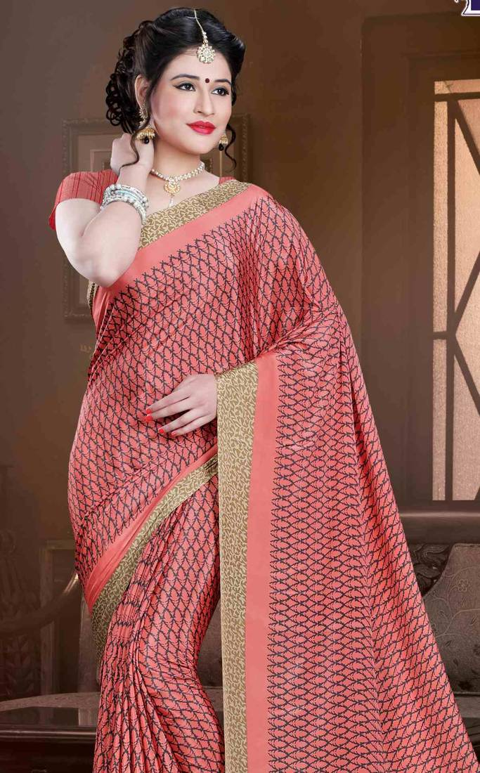 9fabfebf88 Pink crepe saree with blouse - Sudarshan Family Store - 2134890