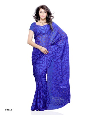 Blue Color Brasso FestivalParty Wear Designer Saree