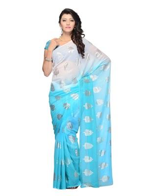 Blue Color Georgette Casual Wear Fancy Saree