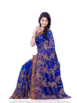 Blue Color Georgette FestivalParty Wear Designer Saree