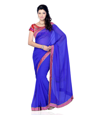 Blue Color Georgette OfficeCasual Wear Saree