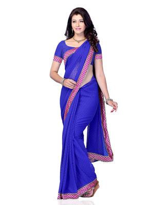 Blue Color Georgette Party Wear Fancy Designer Saree