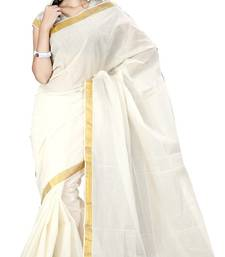 Cream Plain Cotton Saree With Blouse