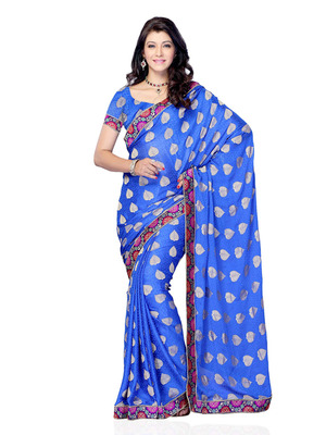 Blue Color Jacquard CasualOffice Wear Fancy Saree