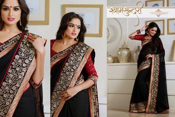 Butta Black Embroidered Saree