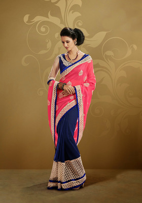 Captivating Coral And  Navy Blue Embroidered Saree