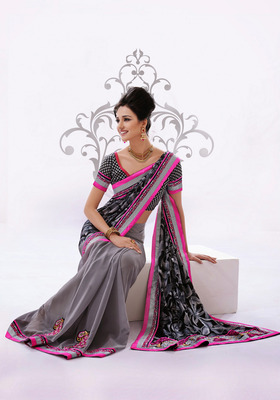 Chic Black And  Gray Embroidered Saree