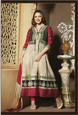 Esha gupta in dark cream anarkali suit