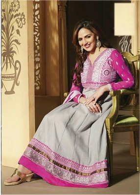 Esha deol in  grey anarkali suit