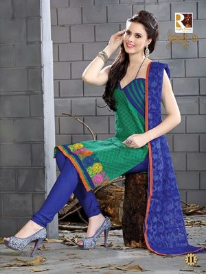 heavy embroidery.green blue salwar suit