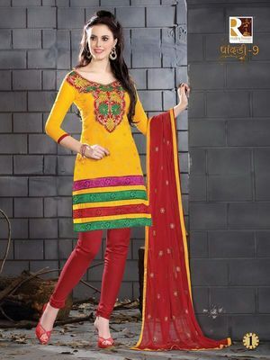 heavy embroidery.yellow red salwar suit