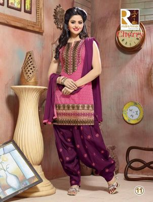 heavy embroidery.pink purple salwar suit