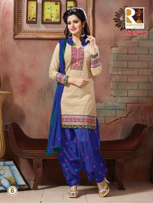 heavy embroidery.light brown blue salwar suit