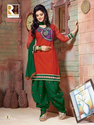 heavy embroidery.orange green salwar suit