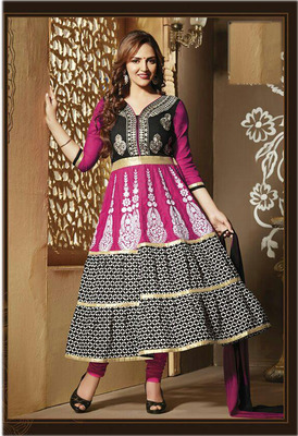 black and pink esha deol anarkali suit