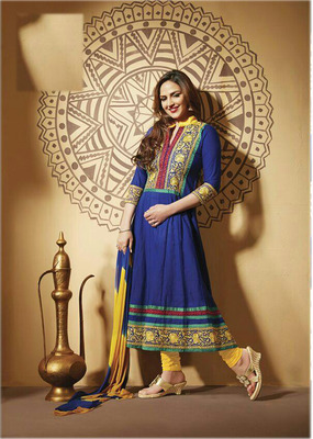 Styles Closet Blue and yellow esha deol anarkali suit