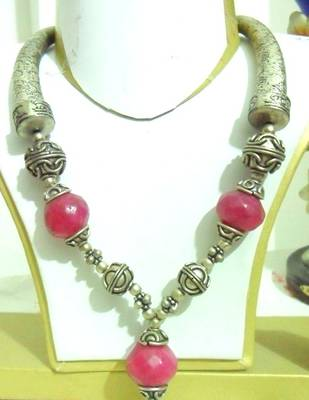Ruby Red German Silver Necklace