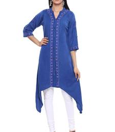 Ada Royal blue Hand embroidered Chikankari cotton kurtis