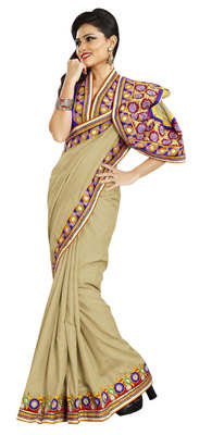 Beige Border Worked Manipuri Silk Saree With Blouse