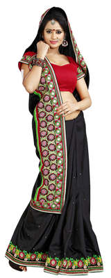 Black Border Worked Manipuri Silk Saree With Blouse
