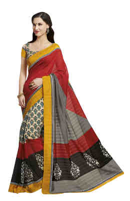 Multi Printed Bhagalpuri Silk Saree With Blouse