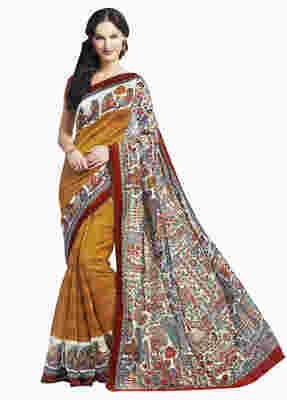 Orange Printed Bhagalpuri Silk Saree With Blouse