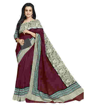 Maroon Printed Bhagalpuri Silk Saree With Blouse