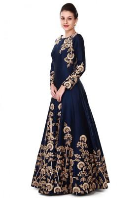 Navy blue embroidered taffeta salwar with dupatta