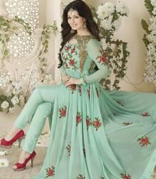 Buy Blue embroidered georgette salwar with dupatta anarkali-salwar-kameez online