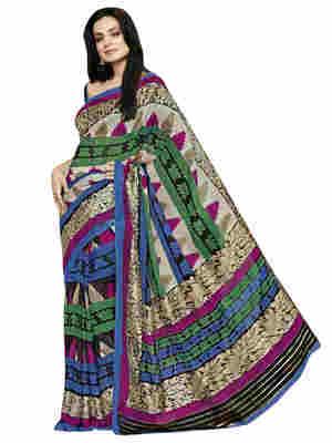 Multi Printed Bhagalpuri Silk Saree With Blouse