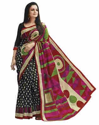 Black Printed Bhagalpuri Silk Saree With Blouse