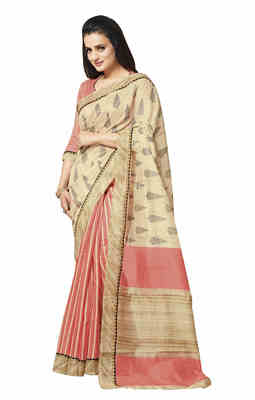 Peach Printed Bhagalpuri Silk Saree With Blouse