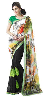 Black Printed Faux Georgette Saree With Blouse