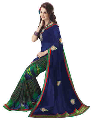 Green Printed Chiffon,Faux Georgette Saree With Blouse