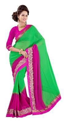 Green Border Worked Crepe Saree With Blouse