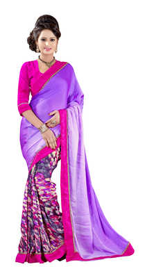 Violet Printed Satin,Chiffon,Bhagalpuri Silk Saree With Blouse