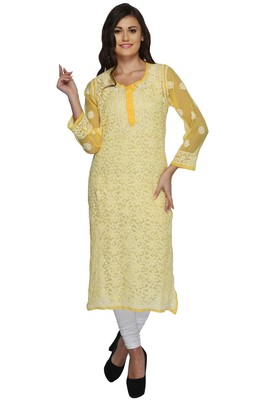 Ada Yellow Hand Embroidered Chikankari Georgette Kurti