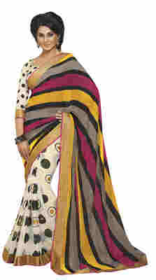 Off White Printed Faux Georgette Saree With Blouse