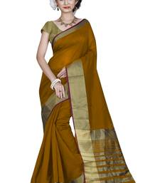 Buy Mustard hand woven cotton saree with blouse cotton-saree online