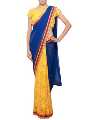 Half and half saree in yellow and blue enhanced in resham border