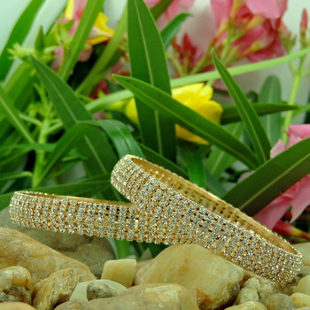 Designer Jaalidar Silver Color Crystal Bangles