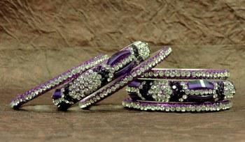 Fashio0ble Rajasthani Purple Crystal Lakh Bangels