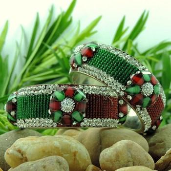 Red and Green Color Designer Lakh Bangle