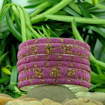 Designer Pink Crystal Lakh Bangle Set