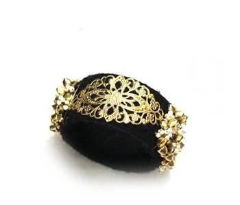 Big Chunky boho bangle - black