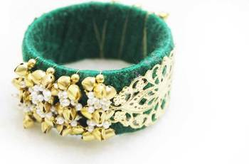 Chunky Boho bangle - Green