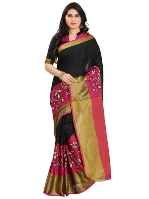 Pink silk solid patchwork saree with blouse