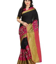 Buy Pink silk solid patchwork saree with blouse kanchipuram-silk-saree online